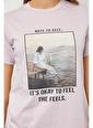 Setre Lila Baskılı Kısa Kol T-Shirt Lila